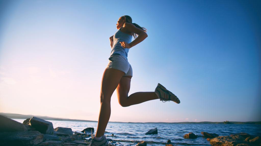 Marathon runner by the ocean